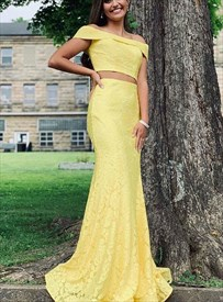 Yellow Two Piece Off The Shoulder Mermaid Lace Overlay Long Prom Dress