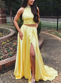 Yellow Two Piece High Neck Jeweled Sleeveless Side Split Prom Dresses