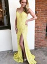 Yellow V Neck Lace Overlay Backless Prom Evening Dress With Side Split
