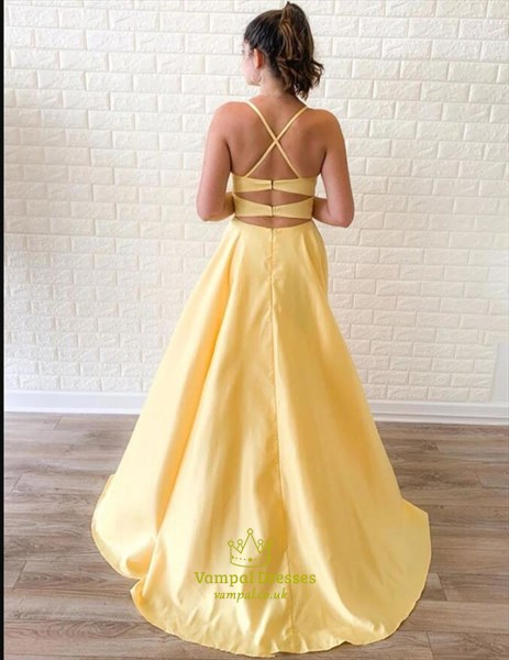 Yellow Spaghetti Strap Split Front Long Prom Dresses With Back Cut Out