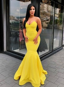 Stylish Yellow Strapless Deep-Sweetheart Long Satin Mermaid Prom Dress