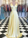 Yellow A-Line V Neck Spaghetti Strap Long Prom Dress With Back Cut Out