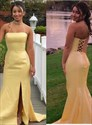 Yellow Mermaid Strapless Long Satin Prom Dress With Strappy Corset Back