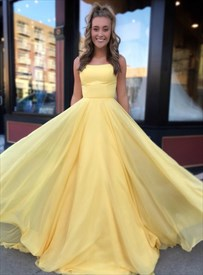 Yellow A-Line Chiffon Double Strap Prom Dress With Strappy Corset Back