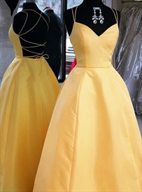 Yellow Spaghetti Strap Backless Prom Dresses With Strappy Corset Back
