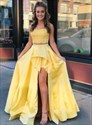 Yellow Two Piece Lace Applique Bodice Long Prom Dress With Split Front