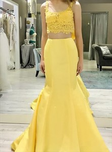 Yellow Two Piece Mermaid Lace Applique Bodice Sleeveless Evening Dress