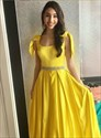 Yellow Sleeveless Beaded Floor-Length Satin Prom Dress With Bow Detail