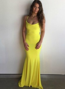 Yellow Cowl Neckline Mermaid Long Prom Dress With Strappy Corset Back