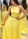 Yellow Chiffon Long High Neck Halter Top Sleeveless Beaded Formal Gown