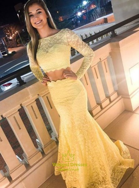 Yellow Mermaid Two-Piece Lace Overlay Evening Dress With Long Sleeves