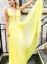 Yellow Long Deep Plunge V Neck Open Back Prom Dress With Beaded Bands