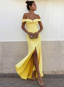 Yellow Off The Shoulder Satin Floor Length Prom Dress With Split Front