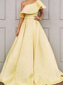 A-Line Yellow One Shoulder Satin Long Prom Dress With Ruffled Neckline