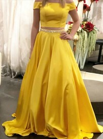 Yellow Long Two-Piece Off-The-Shoulder Evening Dress With Beaded Waist