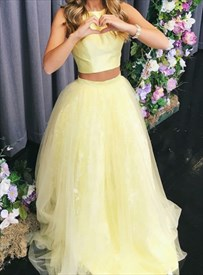 Yellow Sleeveless Two Piece Tulle Skirt Evening Dress With Lace Detail