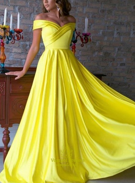 Enchanting A-Line Yellow Ruched Off The Shoulder Prom Evening Dresses