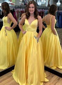 Yellow V Neck Spaghetti Strap Prom Dresses With Cutout Sides And Back