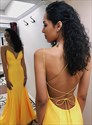 Yellow V Neck Mermaid Open Back Long Prom Dress With Criss Cross Back