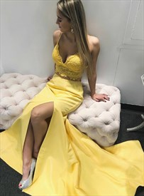 Yellow V Neck Two-Piece Split Front Long Prom Dresses With Lace Bodice