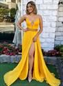 Plunging V Neck Embellished Waist Chiffon Split Front Evening Dresses