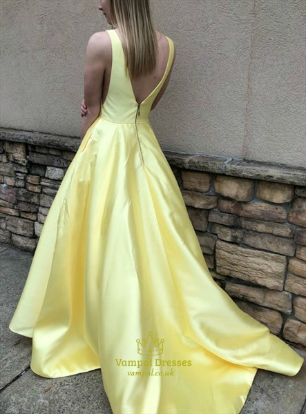 Yellow V Neck Sleeveless Satin Side Cut Out Backless Long Prom Dresses