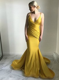 Yellow V-Neck Spaghetti Strap Ruched Mermaid Backless Long Prom Dresses