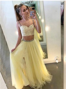 Yellow Two Piece Beaded Lace Applique Spaghetti Strap Tulle Prom Dress