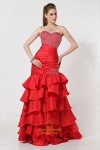 Mermaid Style Prom Dresses 2021,Red Mermaid Prom Dresses 2021,Red Ruffle Mermaid Dress