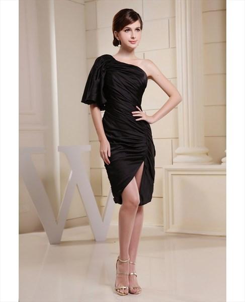 Black One Shoulder Mini Dress,One Shoulder Black Chiffon Dress,Mini Black Dress