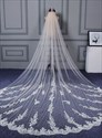 Ivory Tulle Wedding Veil With Lace Appliques