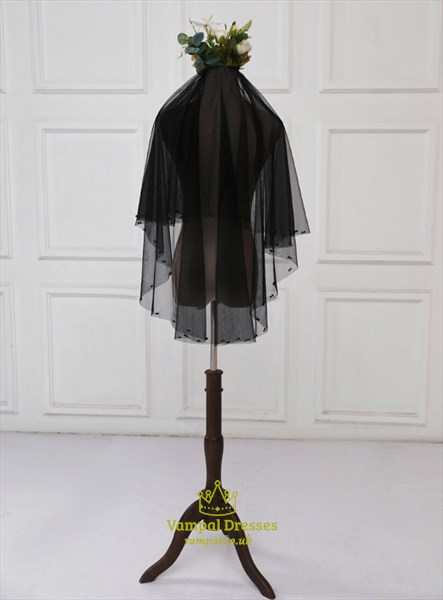 Short Black Two Layer Tulle Wedding Veil With Beading