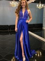 Royal Blue Halter V-Neck Sleeveless Beaded Bodice Prom Dress With Slit