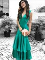 Green V-Neck Sleeveless Mermaid Ruffles Prom Dresses With Cut-Out Back