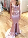 Pink Mermaid Strapless Sweetheart Pleated Prom Dress With Split Front
