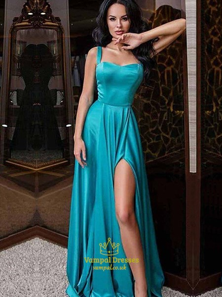 A-Line Blue Sleeveless Floor-Length Split Front Prom Dress With Straps