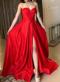 A-Line Red Pleated Strapless Sweetheart Satin Prom Dresses With Slits