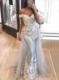 Light Blue Mermaid Off The Shoulder Long Prom Dress With Lace Applique