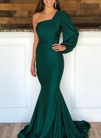 Emerald Green Mermaid One Shoulder Evening Dress With One Long Sleeve