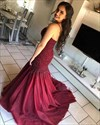 Burgundy Mermaid Spagehtti Strap Lace Applique Prom Dress With Beading