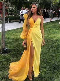 Yellow Mermaid One Shoulder Side Split Prom Dress With One Long Sleeve