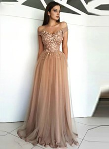 Champagne Off The Shoulder Lace Applique Bodice Long Tulle Prom Dress