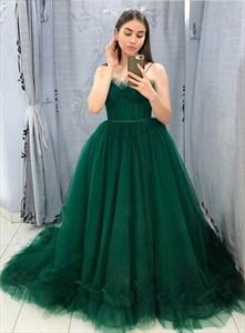 Dark Green Spaghetti Straps Corset Bodice Tulle Sweet 16 Prom Dresses