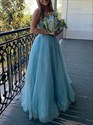 Sky Blue Sequin Spagehtti Straps Backless Evening Dresses With Beading