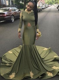 Mermaid High-Neck Long Sleeve Evening Dress With Front Keyhole Cut Out