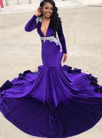 Purple Mermaid Deep V-Neck Lace Applique Prom Dresses With Long Sleeve