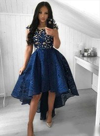 Navy Blue Lace Overlay Embellished High Low Cap Sleeve Prom Dresses