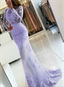 Lavender Beaded Lace Applique Tulle Mermaid Prom Dress With Open Back