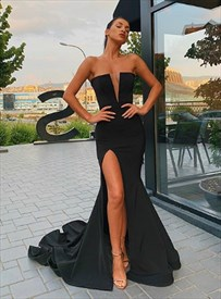 Black Long Strapless Front Split Prom Dresses With Trumpet Silhouette