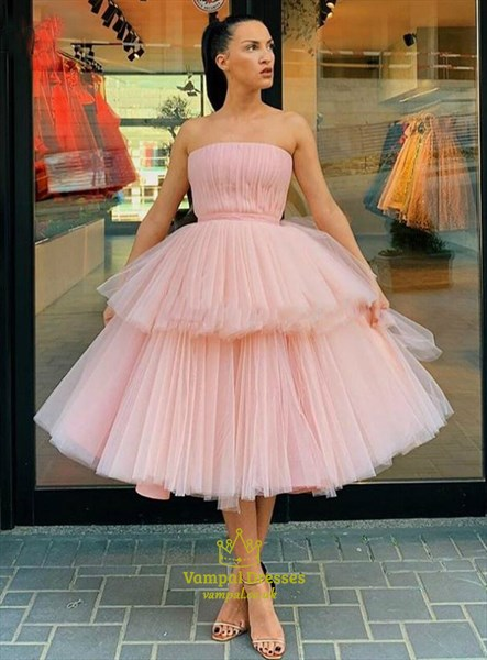 Enchanting Pink Strapless Tulle Layered Tea Length Party Prom Dresses